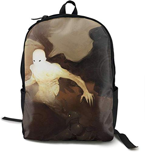 Hiking Picnic Running Rucksack Daypack Durable Polyester Anti-Theft Multipurpose Rucksack Big Capacity Shoulder Bag, Creepy Dark Angel