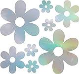 NBFU DECALS Groovy Daisy Flower (Hologram) (Set of 2) Premium Waterproof Vinyl Decal Stickers Laptop Phone Accessory Helmet Car Window Bumper Mug Tuber Cup Door Wall Decoration
