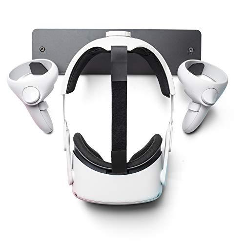 VR Headset-Wandhalterung mit Haken für Oculus Quest 2, Quest, Rift-S, HP Reverb G2, HTC Vive, Vive Pro, Cosmos, Elite, Valve Index, Playstation VR (schwarz)