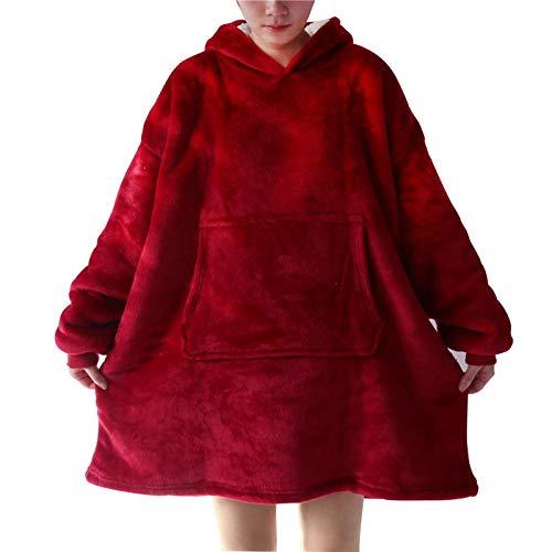 ZHEBEI Ropa de TV perezoso suéter de TV manta con capucha ropa cálida talla única rojo vino