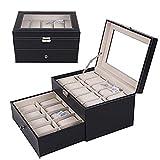 Betty Caja de almacenamiento para reloj de 20 cuadrículas con cubierta de cristal de cuero de la PU para hombres y mujeres reloj