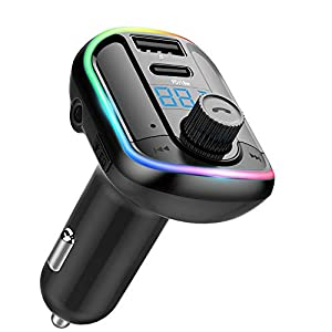 Wodgreat Transmisor FM Bluetooth, Manos Libres para Coche, Musica Coche Bluetooth V5.0, Type-C Puerto 18W Carga Rapida 10 Modos de Dinámico Luz, Reproductor MP3 Coche Soporte Tarjeta TF/Disco U/AUX