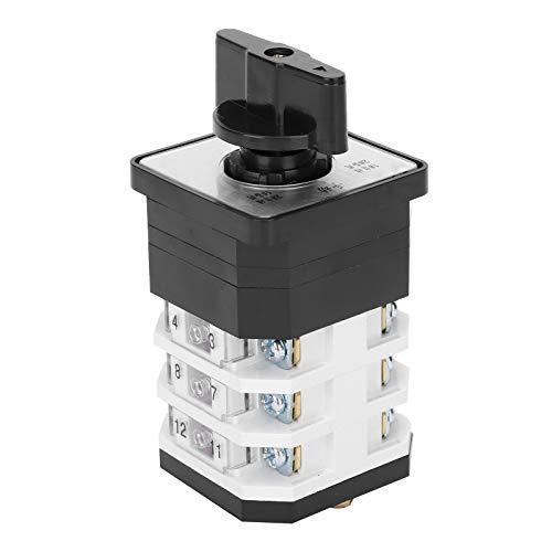 Interruptor de Cambio Universal, Interruptor de Leva Giratorio, Interruptor Eléctrico de 3 Posiciones y 3 Capas 220-380 V, 16 A LW12D-16, con Retardante de Llama y Resistente (4.0724.3)