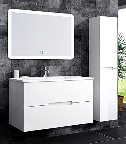 oimexGmbH Badmöbel Set Tiana 70 Waschtisch LED Spiegel Seitenschrank Badezimmer Weiß Hochglanz (Waschtisch + 1x Seitenschrank)