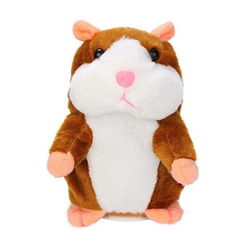 Sprechender Hamster Plüsch Spielzeug Wiederholt was Sie Sagen Mimikry Haustier Elektronische Sprechende Aufzeichnung Stofftier Adorable Interaktives Spielzeug für Baby Kinder (Khaki)
