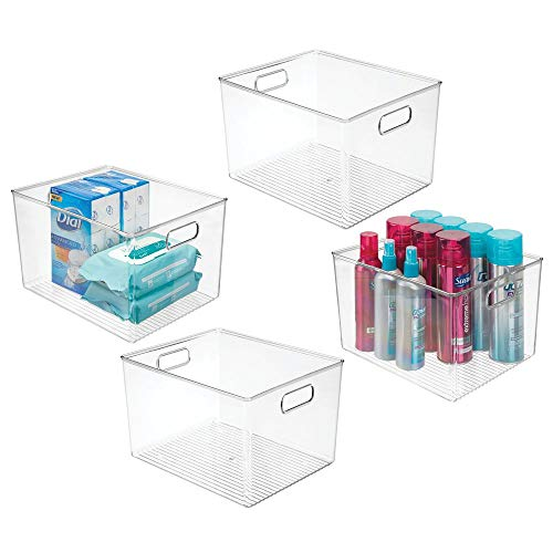 mDesign Plastic Storage Organizer Bin Tote for Organizing Bathroom Hand Soaps, Body Wash, Shampoo, Lotion, Conditioners, Hand Towels, Hair Accessories, Body Spray, Mouthwash - 8' High, 4 Pack - Clear