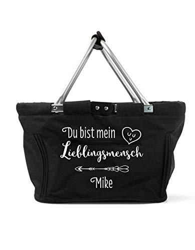 Mein Zwergenland faltbarer Einkaufskorb mit Namen Lieblingsmensch, 28 L, schwarz