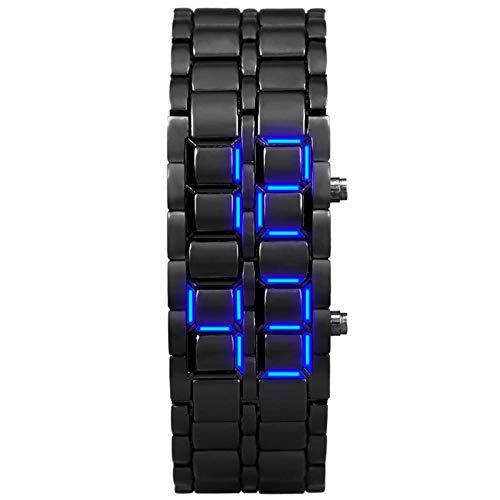 wojiaxiaopu Jugend sportuhren wasserdicht elektronische zweite Generation binäre led Digitale herrenuhr Legierung Armbanduhr-Damen schwarz blau
