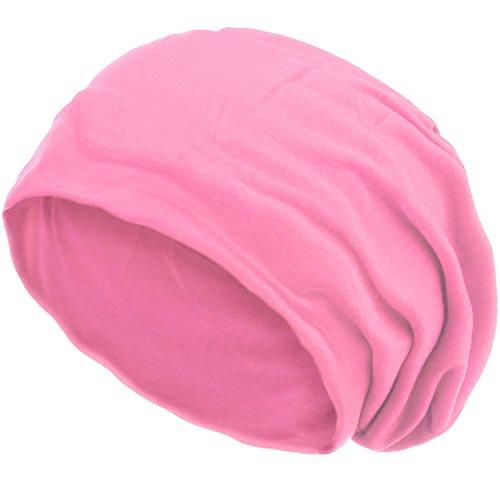style3 Slouch Beanie aus atmungsaktivem, feinem und leichten Jersey Unisex Mütze Haube Bini Einheitsgröße, Farbe:Pink