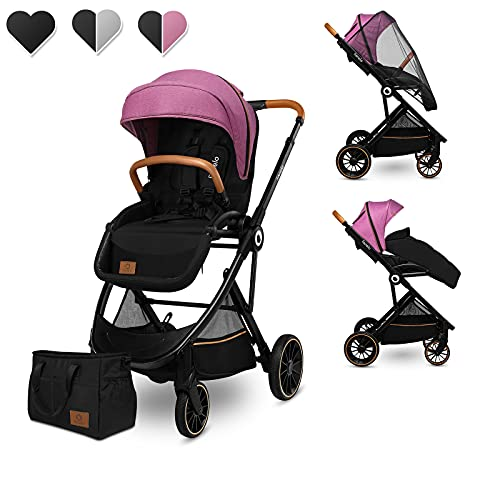 Lionelo Riya silla de paseo desde 15 kg asiento orientado en el sentido de la marcha o a contramarcha capota XXL con material protector solar ruedas PU grandes (Rosa)