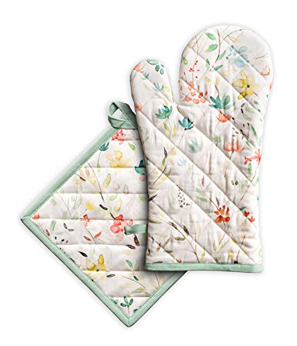 Maison d#039 Hermine Colmar 100% Cotton Set of Oven Mitt and Pot Holder for Cooking | Baking | Grilling | BBQ 75 Inch by 13 Inch 8 Inch by 8 Inch