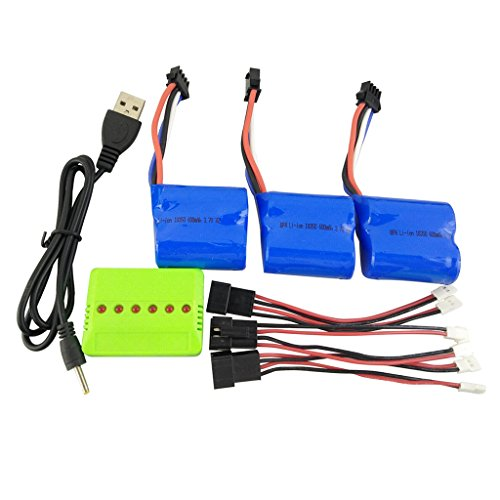 sea jump 3PCS 3.7V 600mah Li Battery + Balance Charger + Conversion line for UDI001 UDI008 RC Boat Spare Parts Remote Control Speedboat Lithium Battery