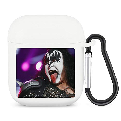 Gene Simmons Case Compatible for Airpods 1/2 Cartoon Design Cute Silicone Cover Kawaii Fashion Funny Character Unique Shockproof Keychain Soft Protective White-style1