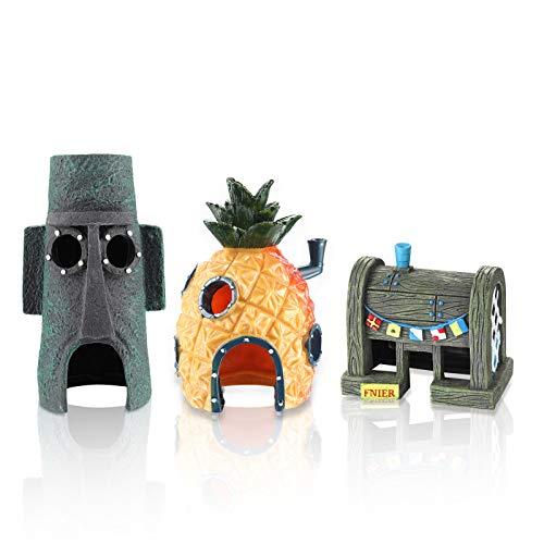 DOHAOOE Spongebob Aquarium Dekoration Betta kleine Fisch Tank Ornament, Satz von 3