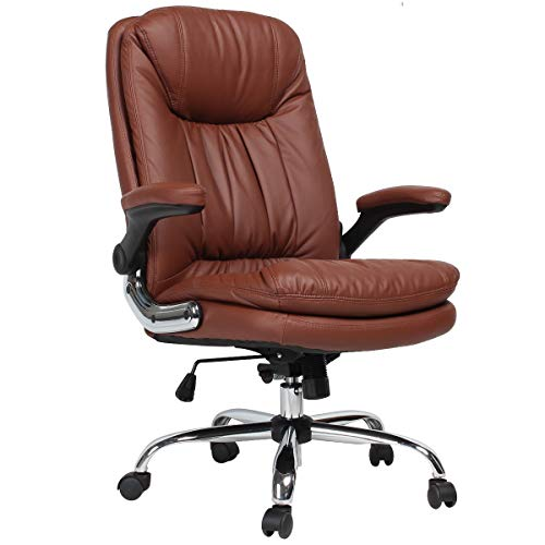 KERMS High Back Executive Home Office Desk Chair, Big and Tall Ergonomic Leather Adjustable Computer Chair with Flip up Arms and Lumbar Support (Brown)