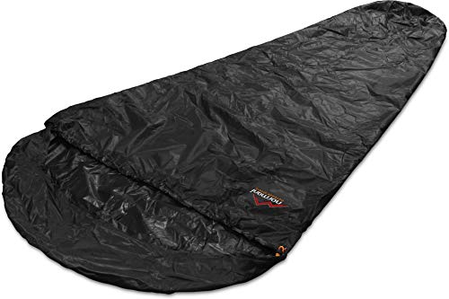 normani Schlafsacküberzug Biwaksack - 100% Wind- und wasserdicht, Atmungsaktivität: 3000 MVP [230 cm x 90 cm] Farbe Black Größe 230 x 90 x 60 cm - RV Rechts