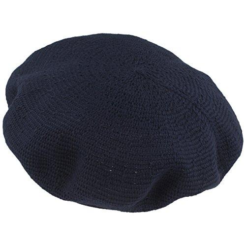 LOEVENICH Sommer Damenmütze | Baskenmütze | Wollmütze für Frauen - aus 100% Baumwolle - fein gestrickt, besonders leicht & faltbar – One Size - Navy