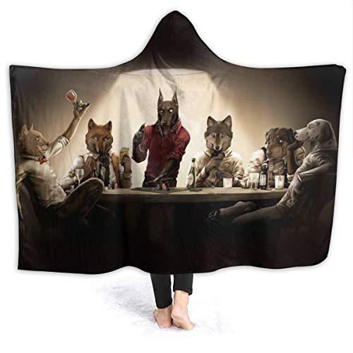 Inaayayi Inaayi Fleece-Überwurf mit Kapuze, für Hunde, Chips, Spielkarten, Casino, lustige Hunde, leicht, niedlich, weich, für Sofa, Stuhl, Bett, Büro, Reisen, Camping, Schwarz, 60