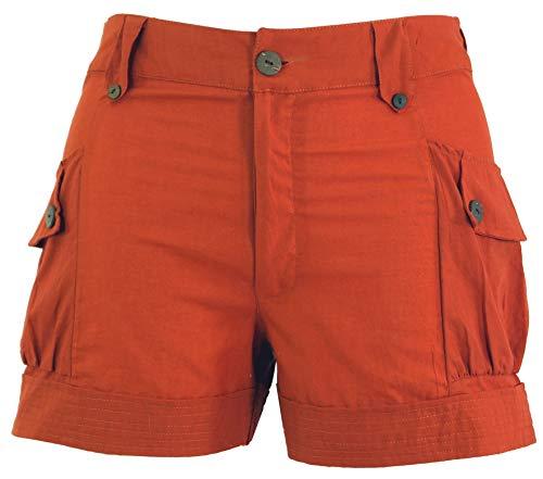 Guru-Shop Shorts Boho-chic, Kurze Hose, Damen, Rostorange, Baumwolle, Size:XL (42), Shorts, 3/4 Hosen, Leggings Alternative Bekleidung