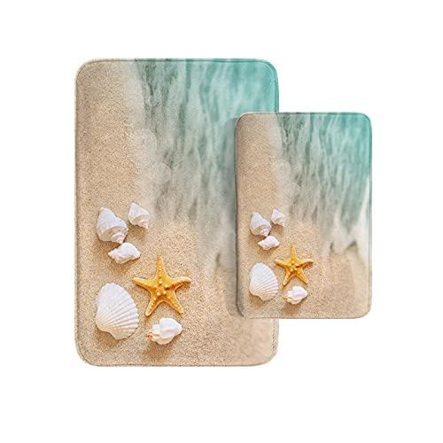 Britimes Beach Starfish Sea Shell Ocean Bathroom Rug Mat Set of 2,Washable Cover Floor Rug Carpets Floor Bath Mat Bathroom Decorations 16x24 and 20x32 Inches
