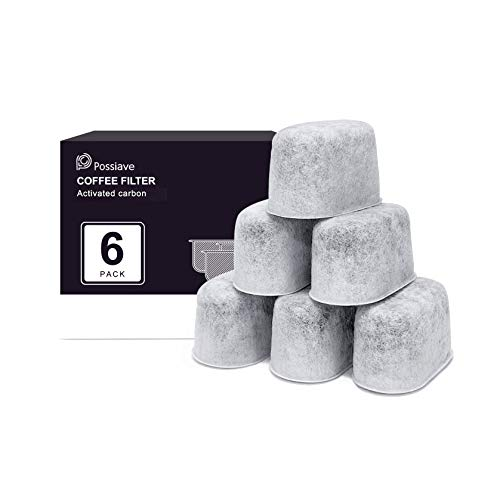 Possiave 6-Pack Espresso Machines Charcoal Water Filters for Breville, Breville BWF100 Machine Water Filter Replacements