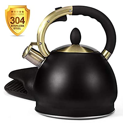 Glotoch Whistling Tea Kettle for Stovetop-Stainless Steel Teakettle Teapot with Cool Toch Ergonomic Handle,1 Free Silicone Pinch Mitt Included,2.64 Quart(BLACK)