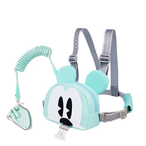 MGMDIAN Children's anti-lost backpack with traction rope/safety belt lock anti-lost dual-use rope cartoon bag and children's bracelet/baby's lost rope and baby artifact (Color : Sky blue)