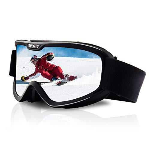 DUDUKING Maschera da Sci,Occhiali da Sci OTG Doppia Lente Anti-graffio Anti-UV Anti-Nebbia Anti-Vento Protezione Occhiali Sci per Uomini e Donne