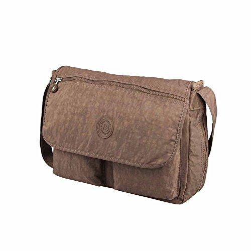 OBC Unisex Erw. Damen & Kinder Tasche Stofftasche Schultertasche Freizeit Shopper Crossover Umhängetasche (Dunkelbraun 38x28x16 cm)