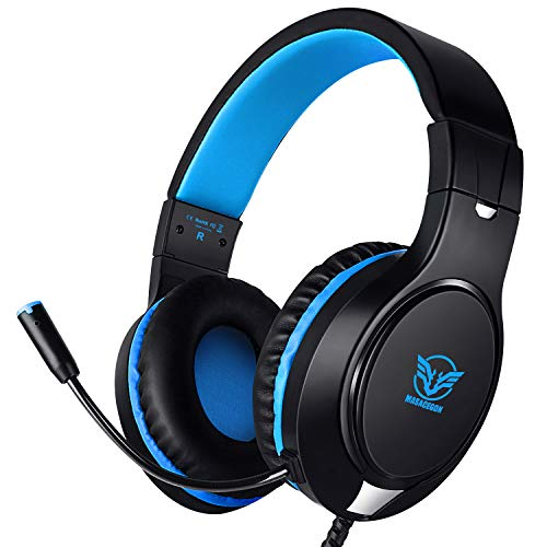 Karvipark H-10 Gaming Headset for Xbox One/PS4/PC/Nintendo Switch|Noise Cancelling,Bass Surround Sound,Over Ear,3.5mm Stereo Wired Headphones with Mic for Clear Chat (Blue-Black) Categories