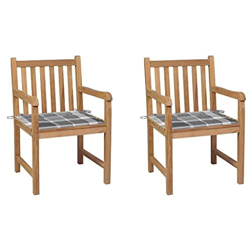 vidaXL 2X Madera de Teca Sillas de Jardín y Cojines Sillón Exterior Balcón Terraza Patio Asiento Butaca Muebles Mobiliario a Cuadros Gris