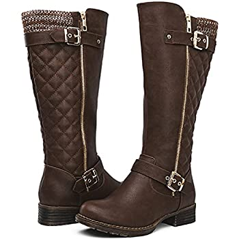 GLOBALWIN Women s Brown Quilted Knee-High Fall Winter Fashion Riding Boots 8M