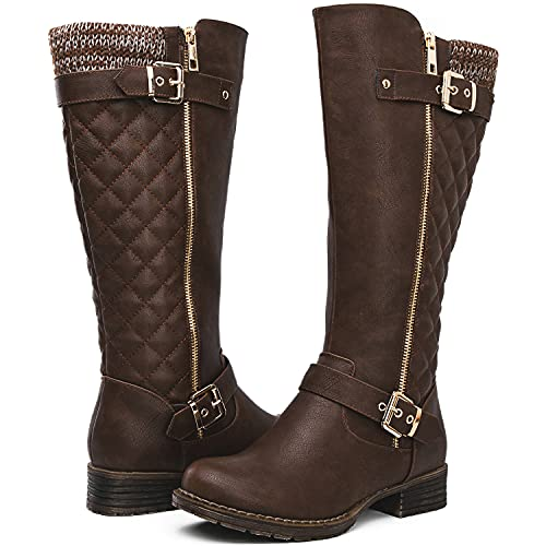GLOBALWIN Women's Brown Quilted Knee-High Fall Winter Fashion Riding Boots 9.5M
