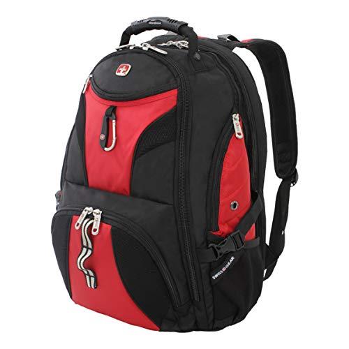 SWISSGEAR 1900 ScanSmart Laptop Backpack- Black/Black (Black/Red)