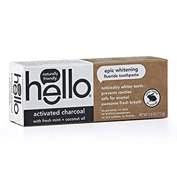Hello Oral Care Activated Charcoal Fluoride Whitening Toothpaste Vegan & SLS Free 4 Ounce  Pack of 1