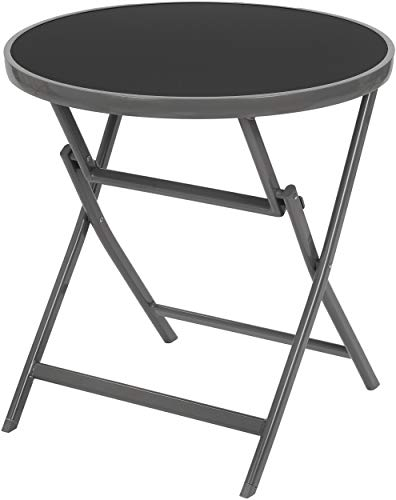 Brubaker Beistelltisch oder Esstisch Milano - Glastisch rund klappbar als Gartentisch - 70 cm Ø - Aluminium - Wetterfest - Silbergrau