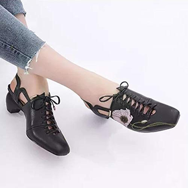 MENGLTX High Heels Sandalen Mode Vintage Lace Up Karree Frauen Pumpt 2019 Neue Sticken Sommer Sandalen Klassisches Design Büro Dame Schuhe Frauen