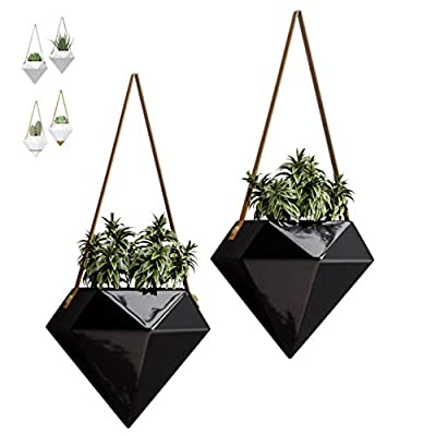 """Geometric Ceramic Hanging Planters   Set of 2   Indoor & Outdoor Home Wall Planters   Hanging Succulent Pots Herbs Air Plants Holder Modern Wall Decor (W:5.90"""" H:5.10"""") (Black)"""
