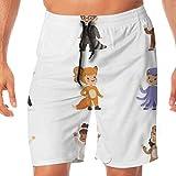 Pantalones Cortos de Playa Tipo de Disfraz de Animal Disfraz Feliz y Listo Velocidad de Secado rápido Pantalones Cortos de Verano con cordón para Hombres, niños