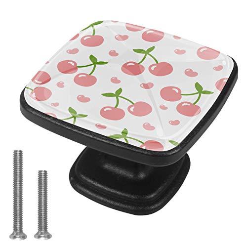 [4 unidades] Tirador de cajón de cristal con tornillos para el hogar, oficina, armario, armario, diseño de cerezas, color rosa coral