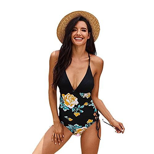 LUHUANONG 2021 Nuevo Traje de baño Mujer Sexy de una Pieza Correa de Bikini Impresa de una Sola Pieza de Verano imprimió el Traje de baño de V (Color : 01, Size : 2XL)