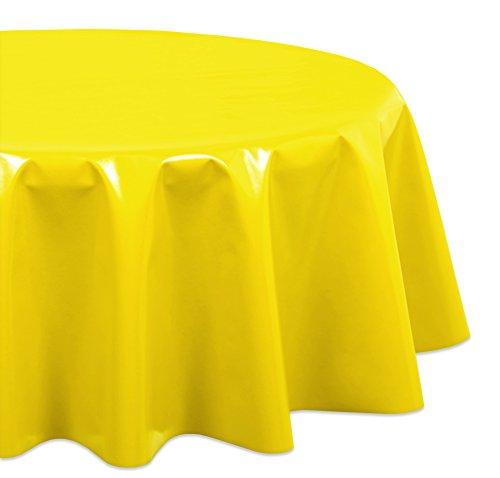 Wachstuchtischdecke OVAL RUND ECKIG Farbe u. Größe wählbar, Tischdecke Wachstuch abwischbar, Uni (Gelb Rund 140)