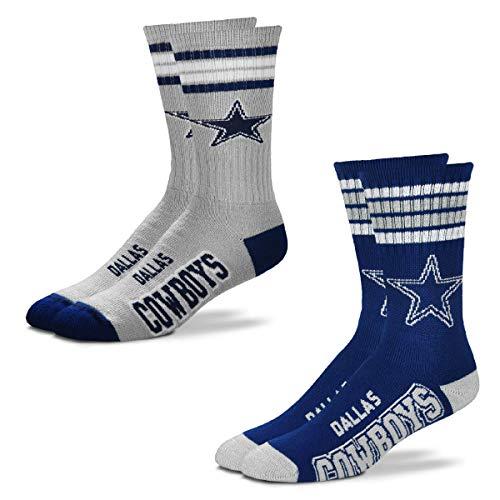 FBF Originals - NFL 4 Stripe Deuce Crew Socks Home & Away - 2 Pack (Dallas Cowboys, Large 10-13)