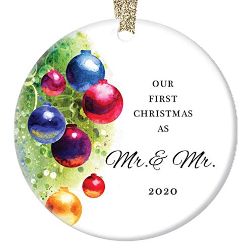 Gay Couple Marriage Christmas Ornament 2020 Our First Christmas Married Mr & Mr Husband Life Partners Wedding Present Festive Holiday Ceramic Keepsake 3' Flat Porcelain w Gold Ribbon & Free Gift Box