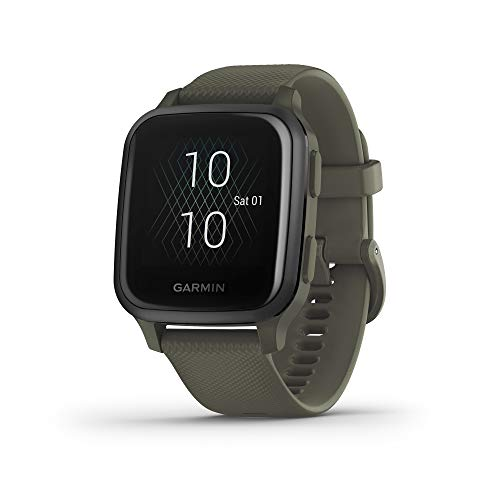 Garmin Venu Sq Music, GPS Smartwatch with Bright Touchscreen Display, Features Music and Up to 6 Days of Battery Life, Slate and Moss Green (010-02426-03)