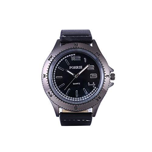 analogico orologi da uomo Coole lente di ingrandimento Apertur quadrante personalità extra grande digitale con bussola cinturino in pelle orologio misura individuale Nero