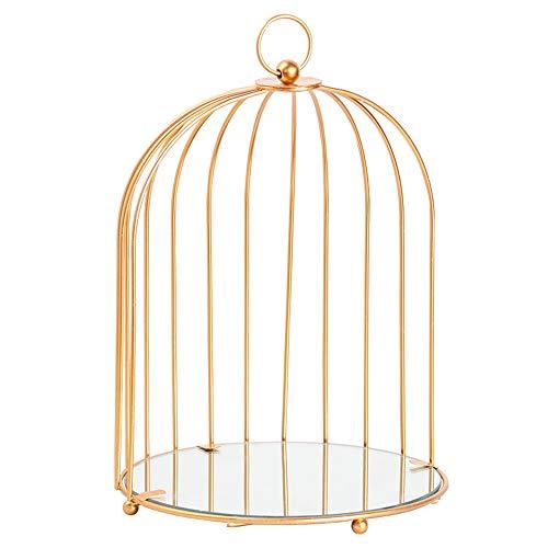 Organizador de maquillaje Birdcage para joyas, cosméticos, perfumes y postres, estante de exhibición multifuncional, soporte de metal, estante de almacenamiento color dorado (pequeño)