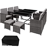 TecTake 800821 Rattan Garden Dining Set | 6 Chairs + 4 Stools + 1 Table | incl. Protection Slipcover | Stainless Steel Screws (Grey)