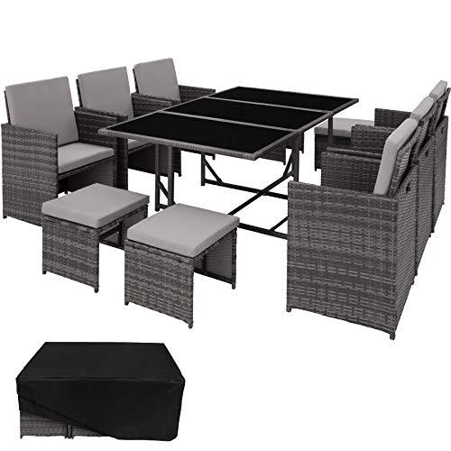 TecTake 800559 Poly Rattan Sitzgruppe | 6 Stühle 4 Hocker 1 Tisch + Schutzhülle & Edelstahlschrauben | - Diverse Farben (Grau | Nr. 403058)