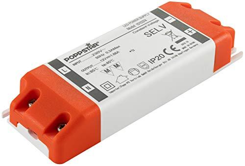 Poppstar LED Trafo Transformator 230V AC / 12V DC 1.66A 20W (Watt)